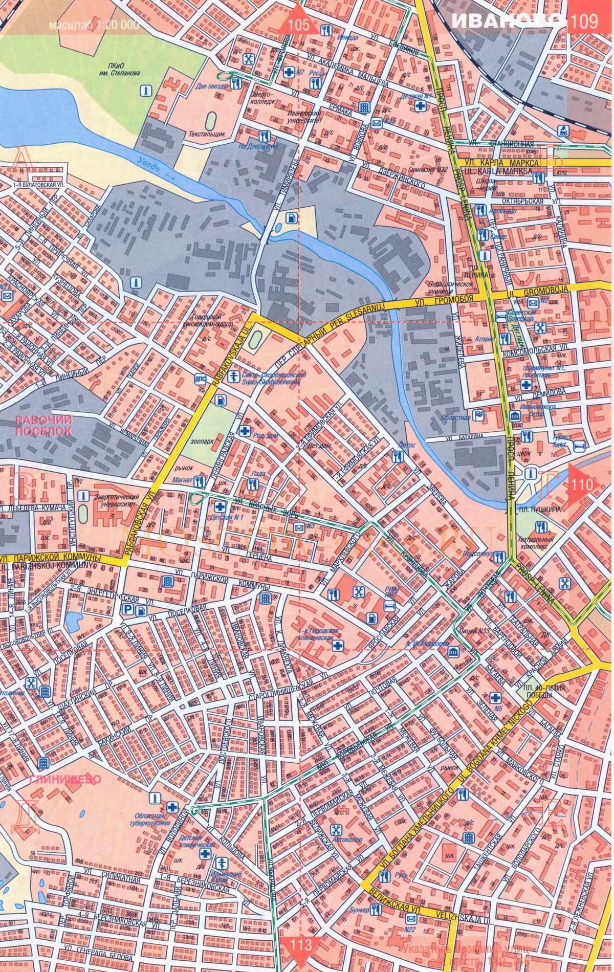 Карта города Иваново и Ивановской области: http://33tura.ru/ivanovomap