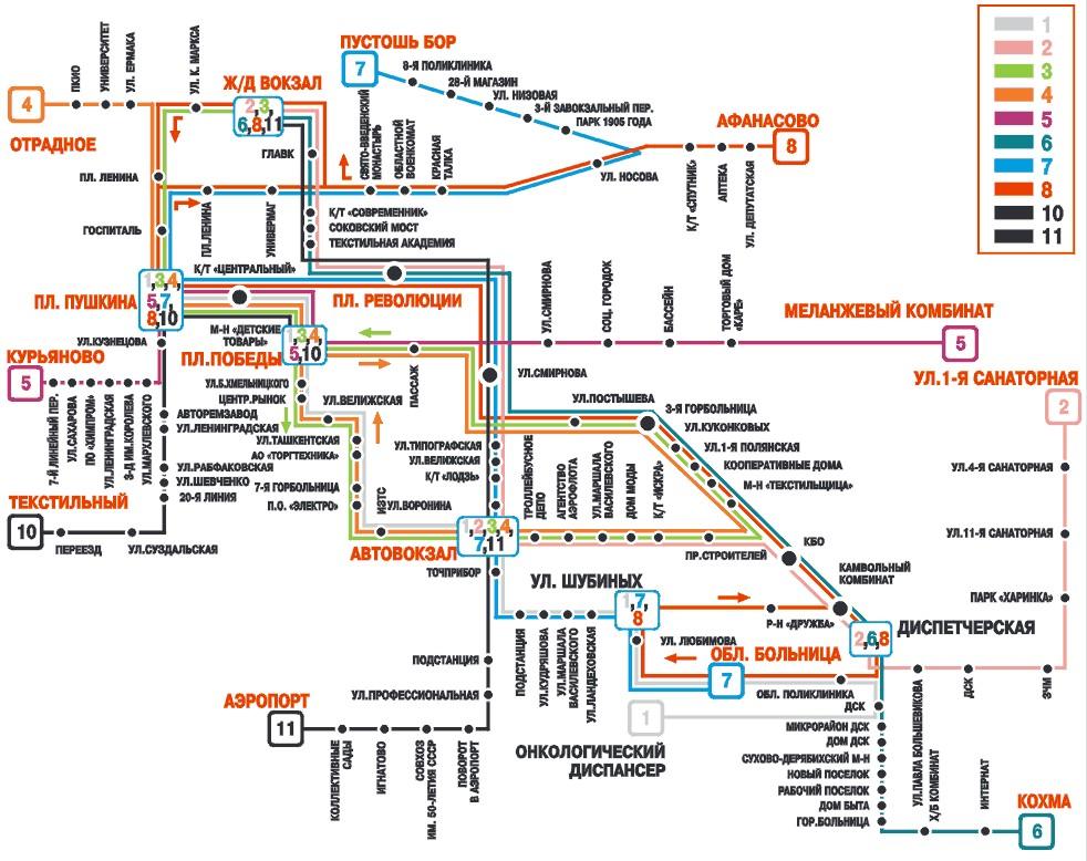 Схема маршрутов троллейбусов в Иваново.