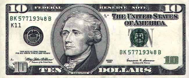 10 долларов сша аверс с портретом